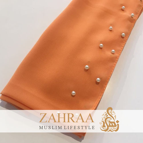 Shawl Chiffon Beaded Edge Orange