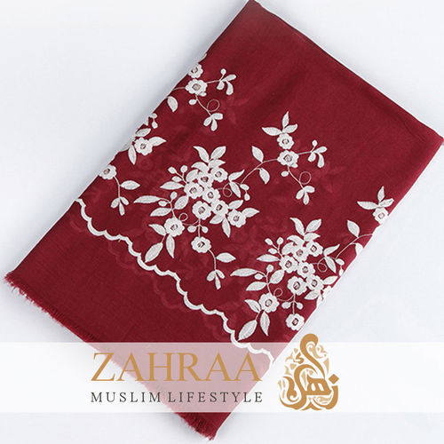 Shawl Marina Embroidery Dark Red