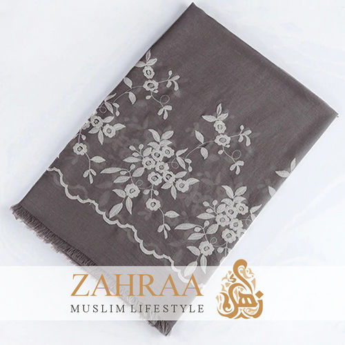 Shawl Marina Embroidery Gray Brown