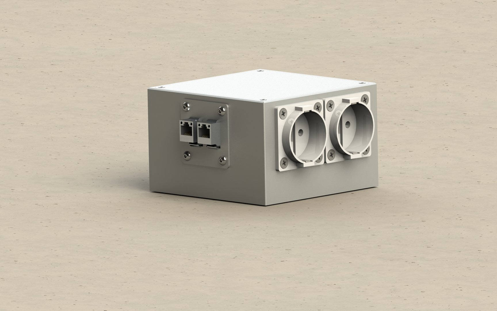 Surface-mounted floor box 6-fold, ideal for retrofitting sockets and other connections (1206)